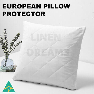 Aus Made European Pillow Protector-Zipped Quilted Cotton Cover-Anti-Allergy