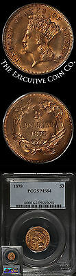 1878 Indian Princess Gold $3 PCGS MS64 Dripping With Luster Great Type Coin