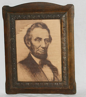 """Early 1900's Abraham Lincoln Framed Artwork, Great Wood Frame, 11.5"""" x 14.25"""""""