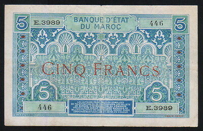 MOROCCO 5 FRANCS 1924 Pick 9 VF