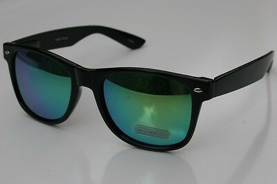 NEW BLACK Way 80's Vintage Retro Sunglasses with Green Mirror Tint