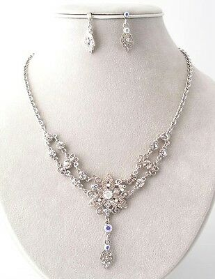 Victorian Style AB Crystal Lariat Flower Renaissance Style Necklace Set