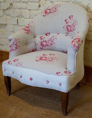A Vintage French Tub Chair upholstered in Cabbages & Roses