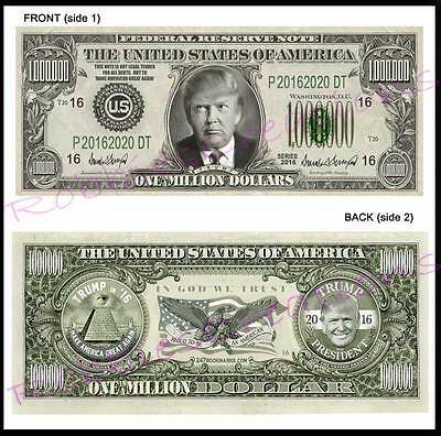 10 Lot-DONALD TRUMP For PRESIDENT 2016 U.S. PAPER Campaign MONEY Million dollar