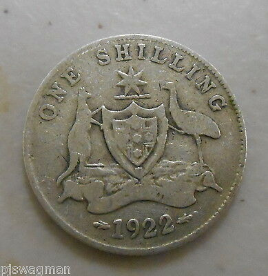 1922 Australian Silver ONE Shilling 1/- (Shilling) KING GEORGE V  (very Nice)