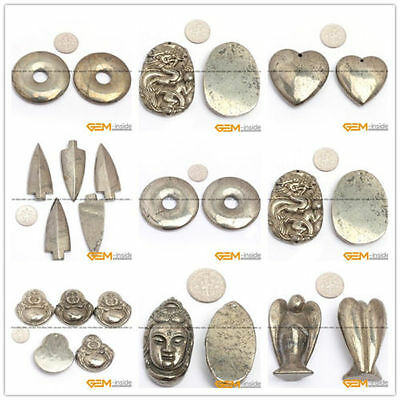 Natural Silver Gray Pyrite Carved Gemstone Pendant Jewellery Charm Beads 1 Pcs