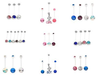 Set 3 / 4  6or choose Pregnancy Maternity Belly Navel Bar Bars double jewel PTFE