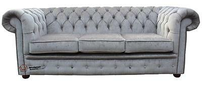Brand New Chesterfield 3 Seater Perla Illusions Velvet Grey Fabric Sofa Settee