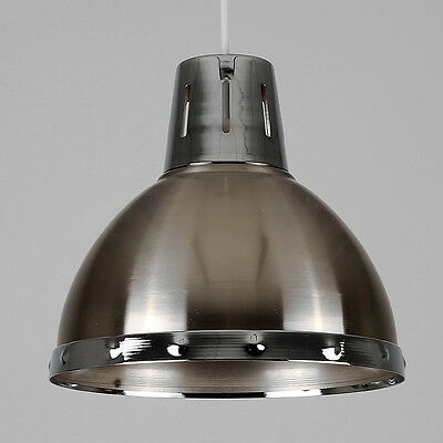 Contemporary Brushed Chrome Retro Kitchen Ceiling Pendant Light Shade Lighting