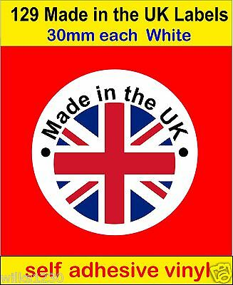 129 Made in the UK Union Jack flag Stickers Soap Candle card Labels vinyl decals