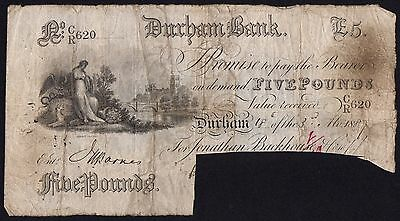 1887 DURHAM BANK £5 BANKNOTE * CR 620 * gF * Outing 722g *