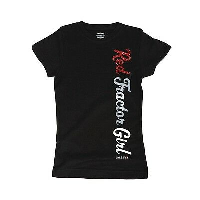 """Case IH Youth Girl's Black T-Shirt """"Red Tractor Girl"""" Size - S or M"""