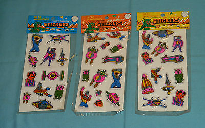 vintage 1980's PUFFY STICKERS lot of 3 new in package