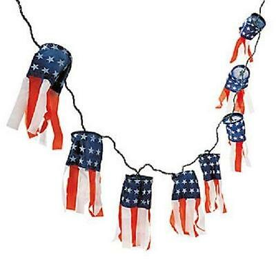 """Patriotic Lighted Windsocks Outdoor 4th of July Decorations (12-ft x 8"""") ~New~"""