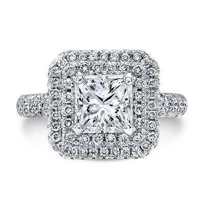 7eaded0d02131 4.11 CT TWIN Halo Micro Pave Princess Cut Diamond Plat Engagement Ring  I,SI1 GIA