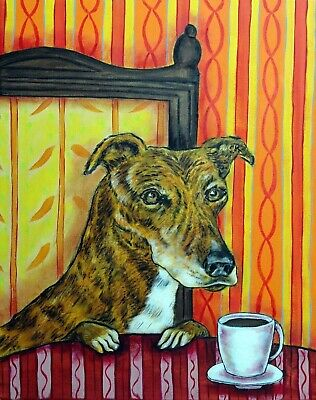 Greyhound dog at the cafe coffee shop signed dog art print poster gift 11x14