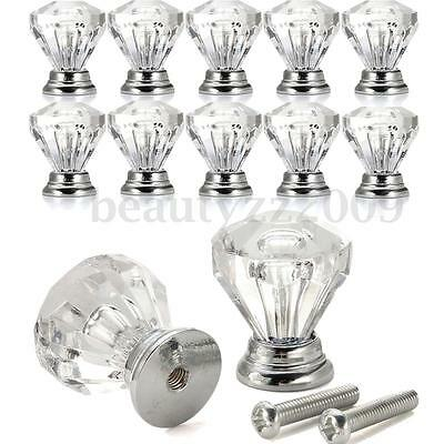 12 pcs Clear Crystal Glass Door Knobs Drawer Cabinet Furniture Handle Knob 25mm