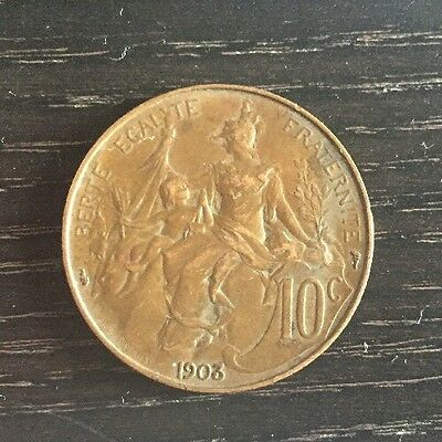 Very Nice French Francaise Republique 10 Centimes Dupuis Coin