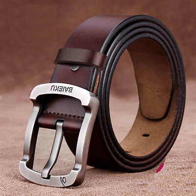 Luxury Mens Genuine Leather Cowhide Pin Alloy Buckle Waistband Waist Strap