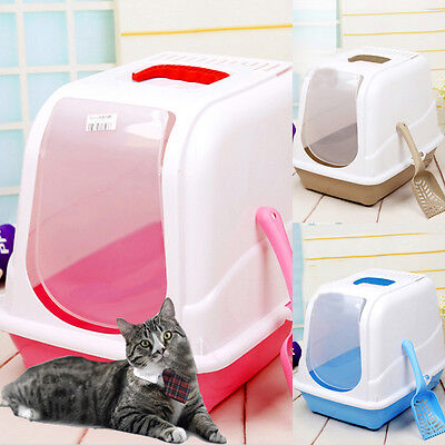 NEW Hooded Cat Toilet Box Easy Clean Filtered Kitten Pet Mess Litter Tray 3Color