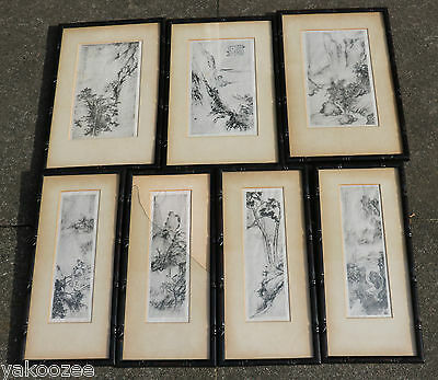 A Set of 7 Classical Chinese Painting on Paper Probably Woodcut Printed#20150093