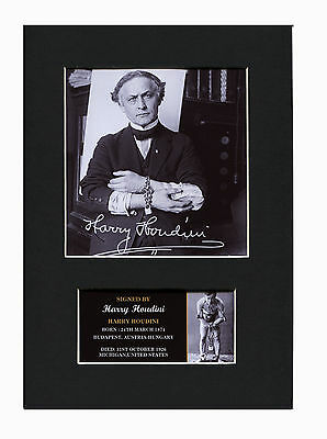 Harry Houdini illusionist Quality signed Mounted Pre-Print 12 x 8.2 A4 bn
