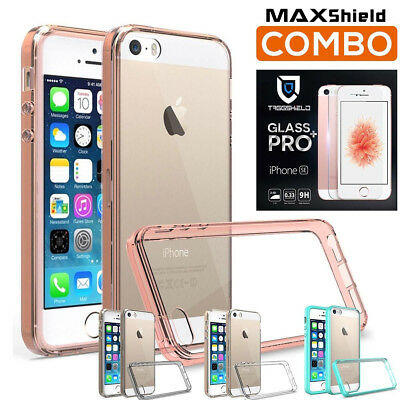 iPhone SE 5 5S Case Cover, MAXSHIELD Crystal Bumper+GLASS Screen Protector