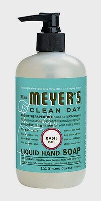 >>12.5oz Mrs. Meyer's Clean Day Liquid Hand Soap Wash BASIL Scent Soothing 14104