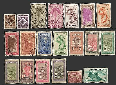 MADAGASCAR LOT OLD STAMPS  x 20 Mix used-Mint NH