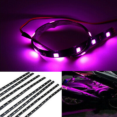 8pcs 12V 15 LED 30cm Car Motor Vehicle Flexible Waterproof Strip Purple Light