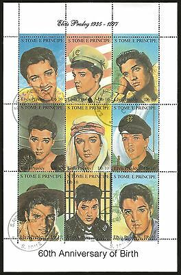 S.TOME E PRINCIPE 60TH ANN. OF BIRTH Elvis Presleyminisheet 9 STAMPS