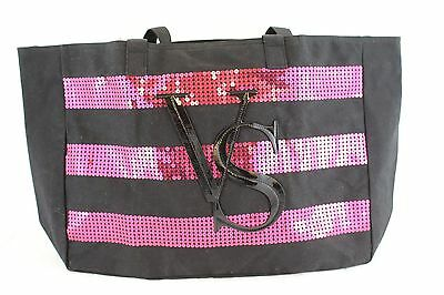 VICTORIA'S SECRET Limited Edition 2014 Black and Pink Sequin Tote Bag  NWT