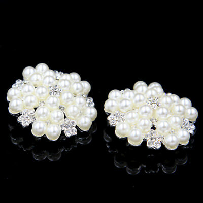 2 x Clear Rhinestone Diamante Ivory Pearl Silver Shank Buttons 40mm Sewing Craft