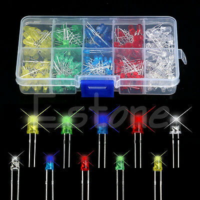 1 set 200Pcs 3mm 5mm LED Light White Yellow Red Blue Green Assortment Diodes Kit