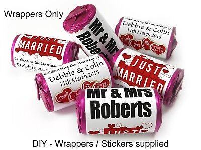 Personalised Mini Love Heart Sweet Wrappers for Weddings favours, Just Married