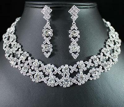 Luxury Clear Austrian Rhiestone Crystal Necklace Earrings Set Bridal N1255 Clear