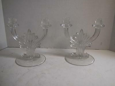 BEAUTIFUL Antique Vintage Pair of CRYSTAL CANDLESTICKS 2 Candle Holders