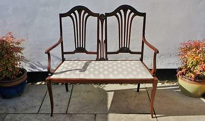 Stunning Edwardian Mahogany 2 seat  parlour settee, Art Nouveau, re-upholstered