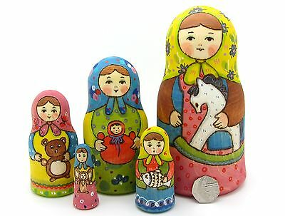 Russian nesting doll 5 HAND PAINTED Matt Martryoshka Girls & Toys RYABOVA signed
