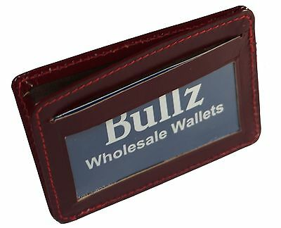 New Men's Genuine Leather Cherry Thin Slim ID Credit Card Money Holder Wallet.