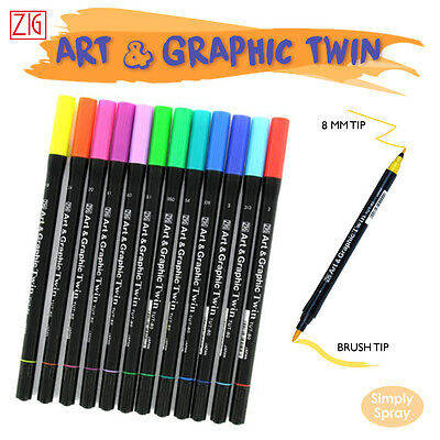 NEW ZIG ART &GRAPHIC TWIN,12 twin markers,Water Colour Style Painting,rubber tip