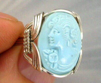 Blue Turquoise Cameo Ring In Solid .925  Sterling Silver Size 5 To 13