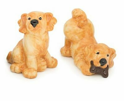Golden Retriever Dog Ceramic Salt & Pepper Shakers  Big Sky Carvers