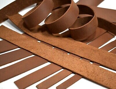 """SECONDS: One 5-6oz BROWN OIL-TANNED LEATHER Strip Strap (5/64""""-3/32"""" Thick)"""