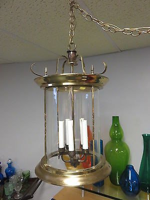 Vintage Large Brass & Glass Foyer Entryway  Ceiling Hanging Light Fixture