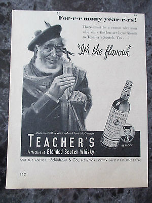 "Vintage 1944 Teacher's Blended Scotch Whisky Print Ad, 7"" X 5.5"""