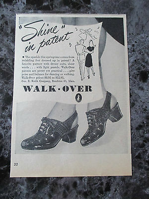 "Vintage 1944 Walk Over Shoes Print Ad, 7"" X 5"""