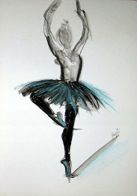 ORIGINAL ART * Pastels on art paper * BALLET DANCER  * Art By Poppi