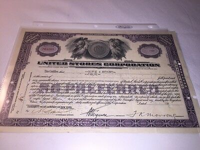 Stock Certificate - UNITED STORES CORPORATION – DELAWARE 1932/34 Lot Of 2