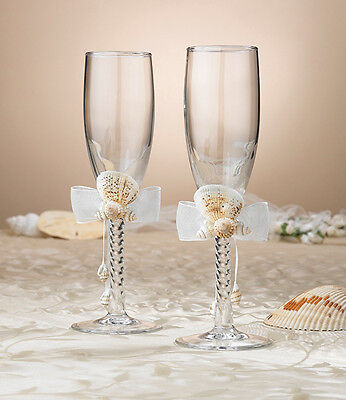 Lillian Rose Sea Shell Wedding Toasting Champagne Glasses